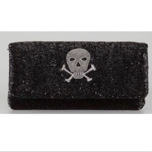 Moyna black beaded skull clutch